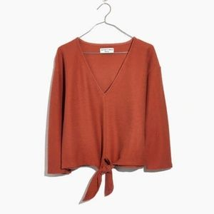 NWT Madewell Plus Long Sleeve Tie Front Top